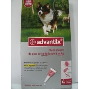 Advantix spot-on Chien moyen de plus de 10kg et jusqu'à 25kg X4 pipettes