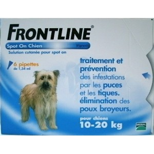 Frontline spot on chien 10 - 20 kg 6 pipettes