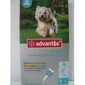 Advantix spot-on Petit chien de plus de 4kg et jusqu'à 10kg X4 pipettes